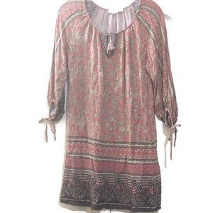 Lovestitch Floral Tunic Top Boho Size Small